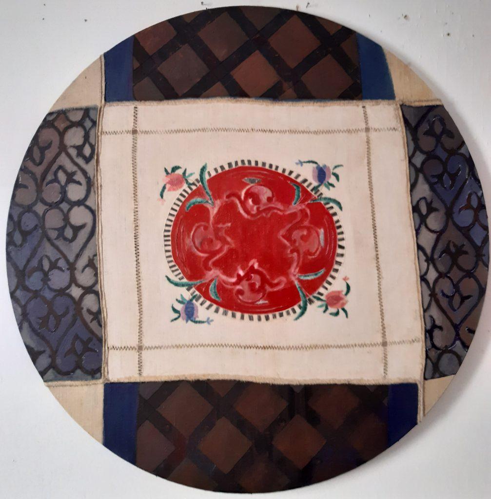 Bernardinų fragmentai 2020, sena siuvinėta drobė, akrilas, aliejus, 96x96 cm.