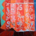 Paberžės arnotai 2017, drobė, aliejus, koliažas, 92x118 cm.