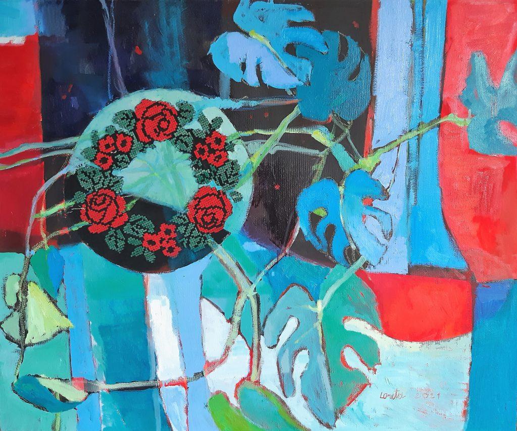Fridai 2021, drobė, aliejus, koliažas, 70x85 cm.